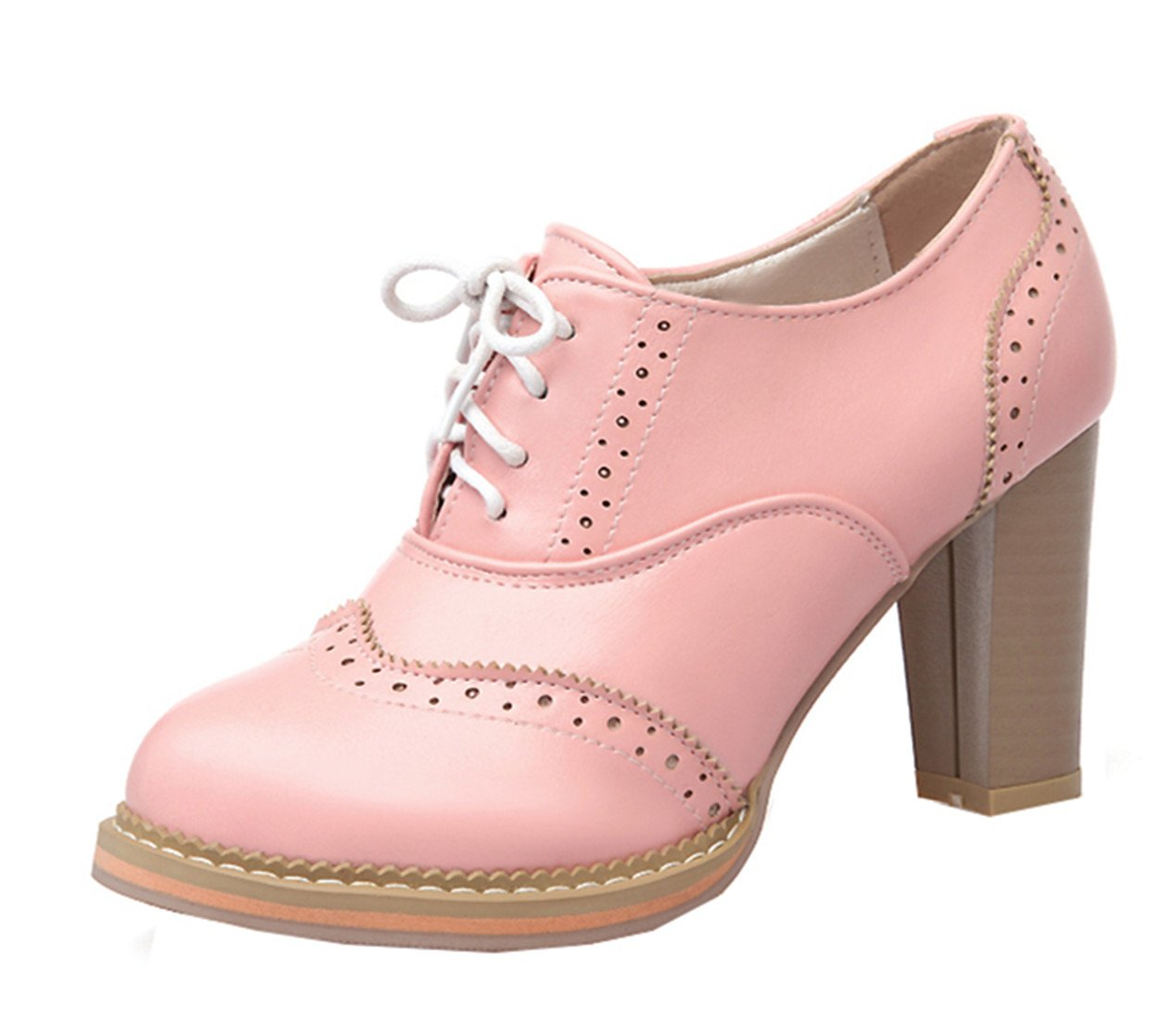 YE Damen High Heels Retro Suuml;szlig;e Geschlossene Zehe Pumps mit Blockabsatz Brogue Fruuml;hling Herbst Schnuuml;rhalbschuhe Casual Shoes40 EU|Pink