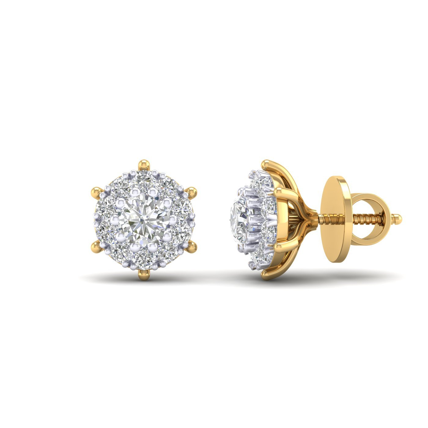 14K Yellow Gold Plated Round Cut AAA Cubic Zirconia Halo Style Cluster Mini Stud Earrings Summer Sale