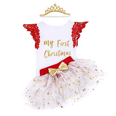 7e32817b9db6 3PCS Infant Baby Girls First Christmas Costume Tutu Romper Headband Outfit  Set Photo Props Birthday Costumes