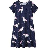 Camisones de Unicornio/Gatito/Estrella Manga Larga Camisón Estampado Camisón Ropa de Dormir 3-12 años Pijama Rosa/Azul…