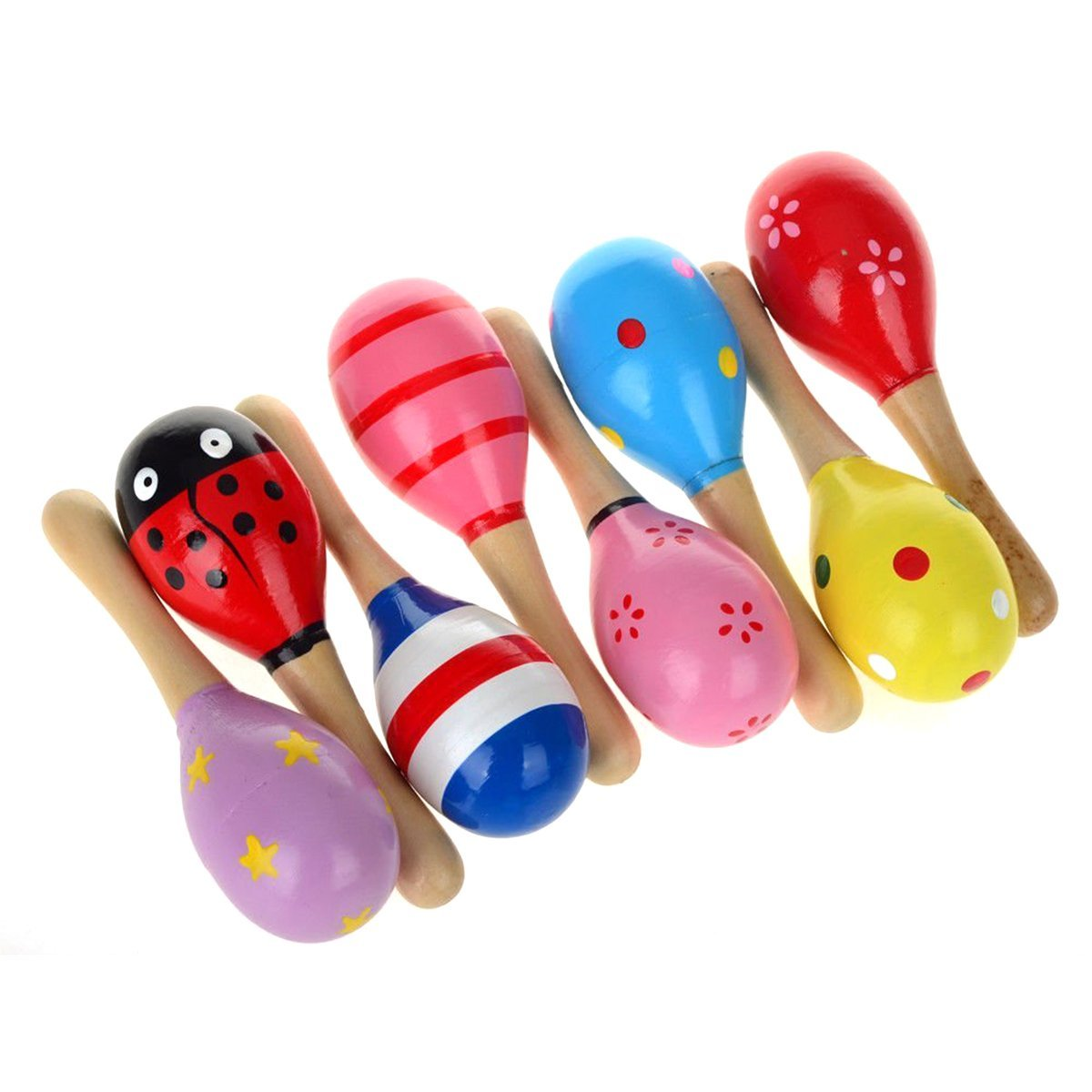 c9880f6cb PIXNOR Maracas sonajero coctelera Musical juguetes de madera para niños 10  pcs (patrón de Color al azar): Amazon.es: Bebé