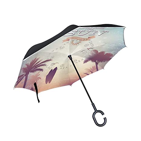 25710b527433 Amazon.com : Jojogood Beach Dusk Background Inverted Umbrella ...