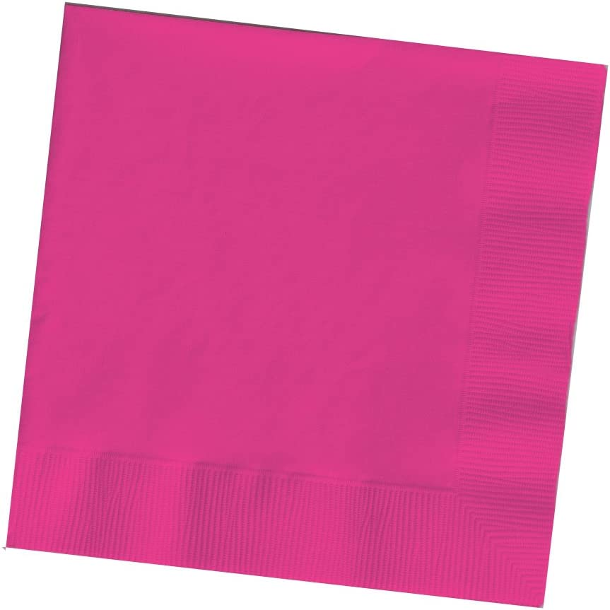 Creative Converting Touch of Color 200 Count 2-Ply Paper Beverage Napkins, Hot Magenta , 5