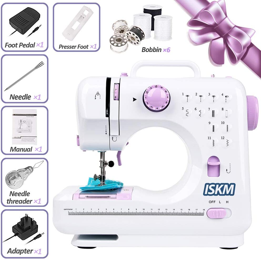 12 Stitches, 2 Speeds, LED Sewing Light, Foot Pedal Small Household Sewing Handheld Tool GD-015-BE Sewing Machine by Galadim - Electric Overlock Sewing Machines