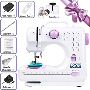 Sewing Machine 12 Stitches 2 Speed LED Light Foot Padal - Electric Overlock Heavy Duty Mini Sewing Machines Portable Small Household Sewing Handheld Multi-Functional - White/Black Thread Free Gift