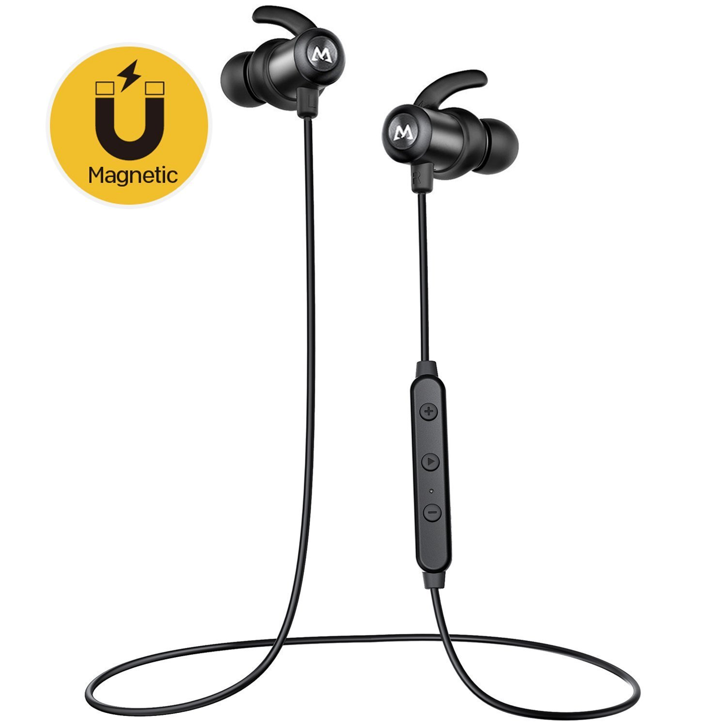 Bluetooth Sport Headphones Mpow S6 Wireless Headphones with Magnetic Connection,aptX Stereo IPX6 Bluetooth 4.1 Earbuds Headset,Nano Coating Sweatproof Sport In-Ear Earphones with Inline Control with MIC for Running, Jogging, Workout -Black MPBH205AB-CA