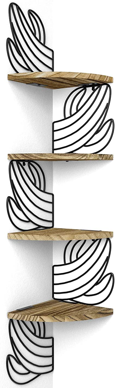 Alsonerbay Wall Mount Corner Shelves, 4 Tier Floating Wood Shelf, Rustic Storage Shelves for Bedroom Living Room Bathroom Kitchen Office, Solid Wooden Decor, Cactus Shelves Carbonized Black