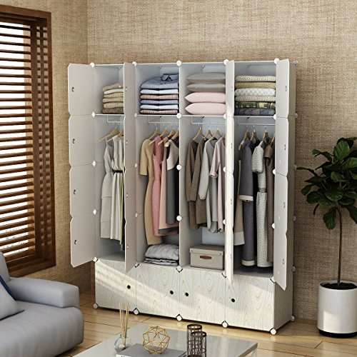 MAGINELS Magicial Panels Wardrobe Portable Closet for Bedroom Clothes Armoire Dresser MultiFuncation Cube Storage Organizer, 8 Cubes & 4 Hanging Sections, Wood Grain Pattern