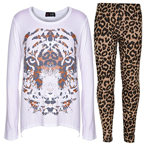 Tiger Outfit (Girls Top Kids Tiger Face Print T Shirt Tops & Fashion Legging Set 7-13 Years)
