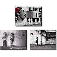Piy Painting 3X Quadro su Tela Stampa Disegno su Tela Canvas Impermeabile Quadro Moderno Bansky Graffiti Stile La Vita è Belle Décor per Camera da Letto Soggiorno Camera da Pranzo Cucina 30x40cm