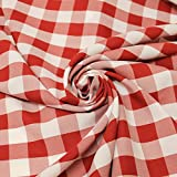 Big Checkered Gingham Poplin Woven Fabric (Red)