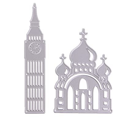 Amazon scastoe church cutting dies stencil metal template mould scastoe church cutting dies stencil metal template mould for diy scrapbook album paper card decor maxwellsz