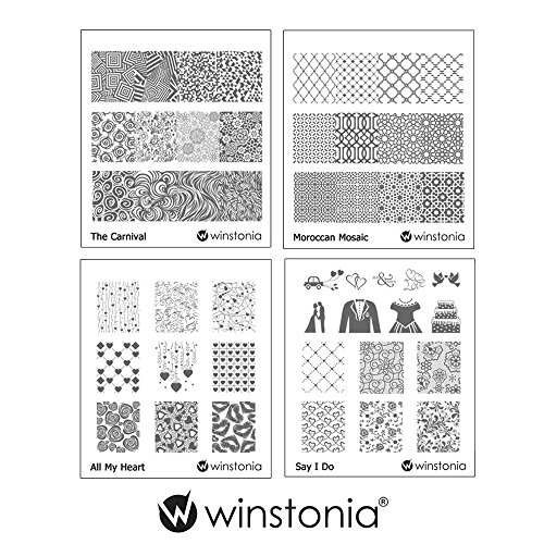 Winstonia Nail Art Stamping Image Plate Bundle Set 4 - The Carnival, Moroccan Mosaic, Say I Do, All My Heart