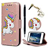 iPod Touch 5 Case,iPod Touch 6 Case,Lanveni PU Leather Wallet Flip Cover Cute Unicorn Shockproof Magnetic Card Slot Cash Holder Stand & Dust Plug & Stylus For iPod Touch 5th/6th Generation ,Rose Gold
