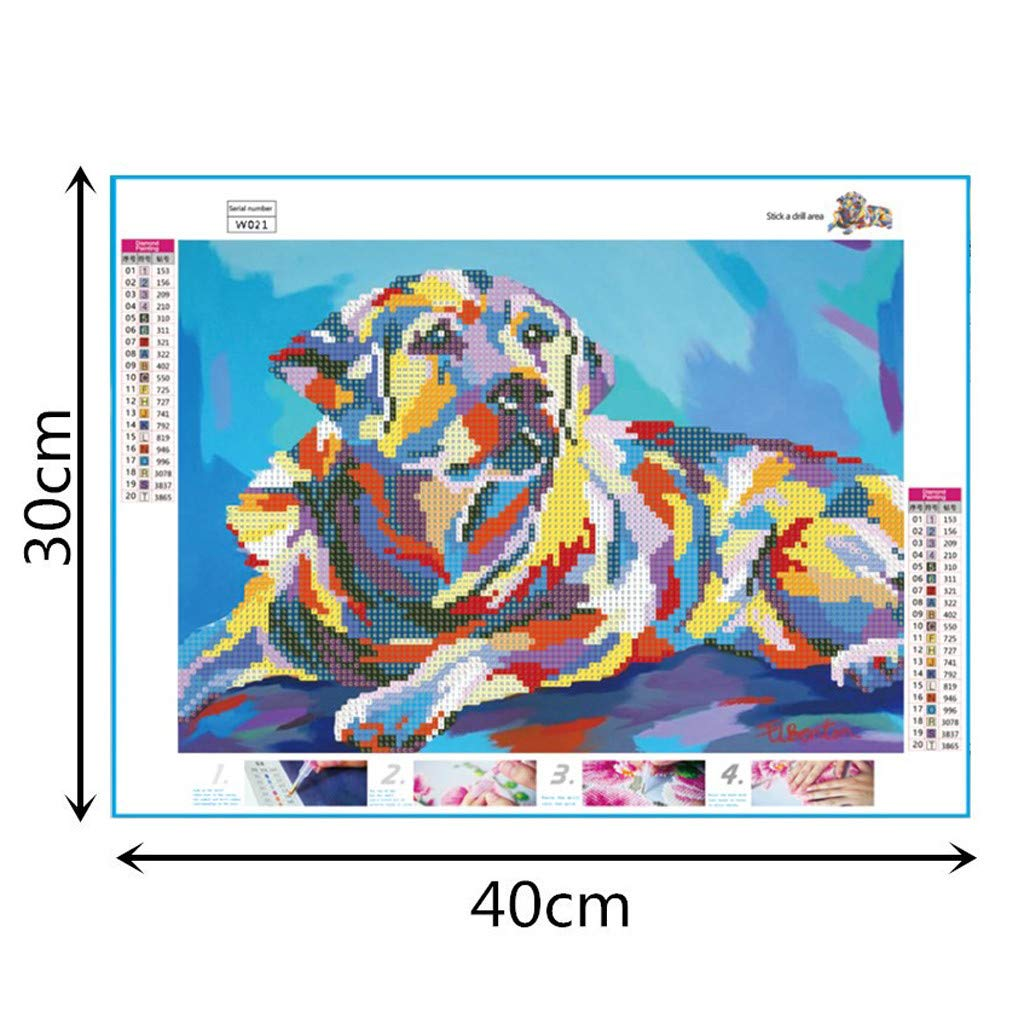 Round Drill Crystal Rhinestone Diamond Embroidery Paintings Pictures Arts Craft for Home Wall Decor DIY 5D Diamond Painting by Number Kits Pet Puppy Dog