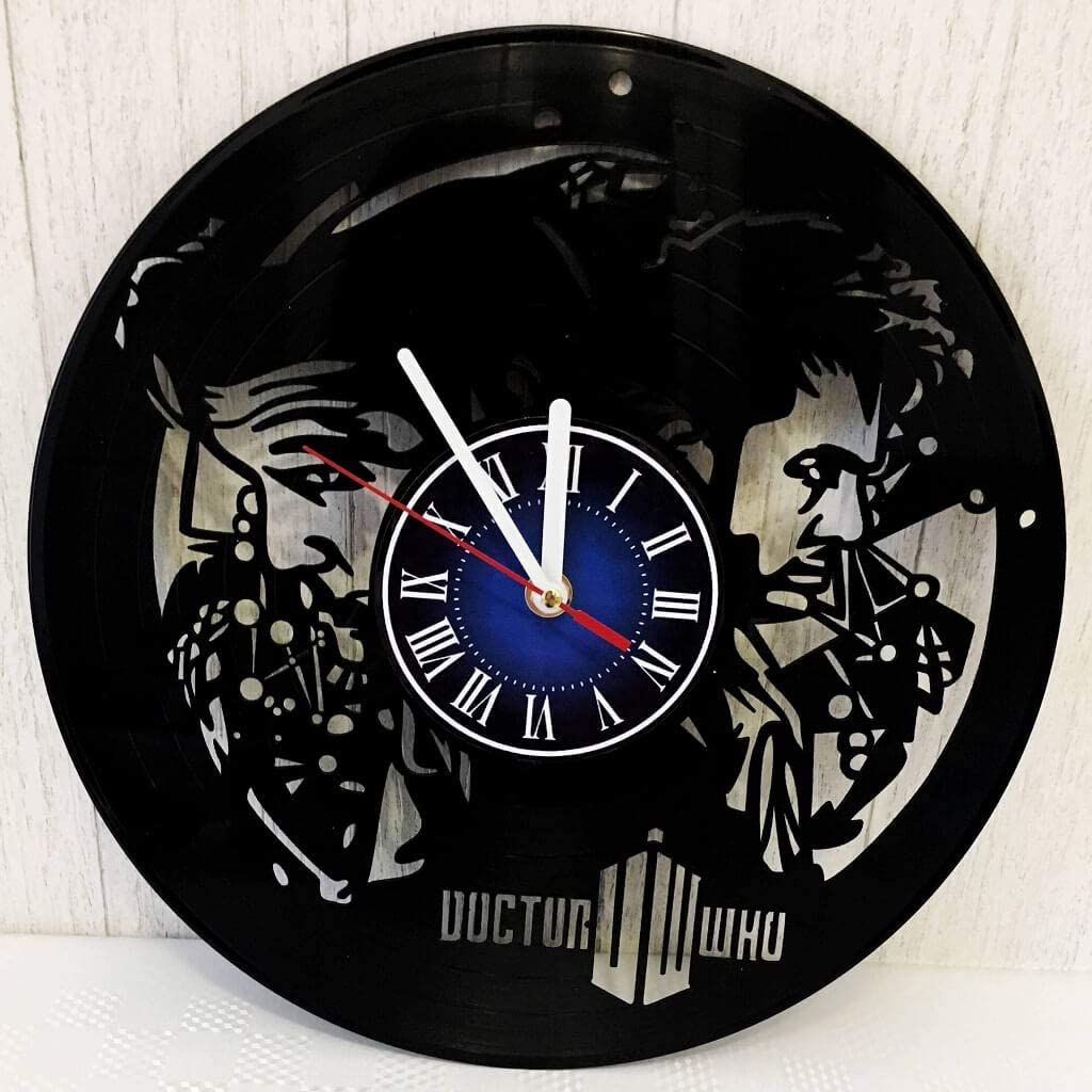 Doctor WHO 12 inches / 30 cm Vinyl Record Wall Clock   Gift for Tens, Geeks, Boys and Girls   Dalek Merchandise   Tardis Gift