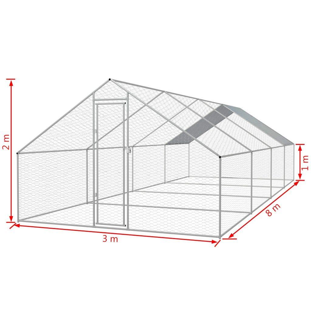 Festnight- Jaula de Exterior de Gallinero 3x8x2 m: Amazon.es: Hogar