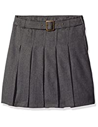 French Toast Big Girls' Pleated Scooter with Square Buckle Belt, Grey, 8