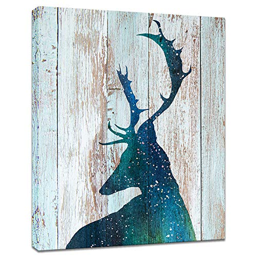 (Innopics Deer Animal Abstract Canvas Printed Painting Teal Starry Watercolor Elk Horn Rustic Wooden Background Print Vintage Wall Art Decor Framed for Home Office Living Room Decoration 16