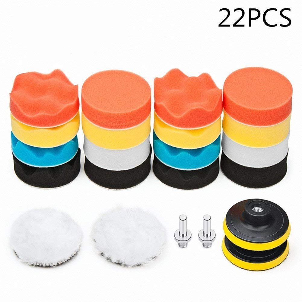 ulofpc 22pcs 3 inches Polishing Buffer Pads Buffing Pads Set Waxing Sealing Glaze Sponge Drill Adapter Kit