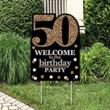 Adult 50th Birthday - Gold - Party Decorations - Birthday Party Welcome Yard Sign