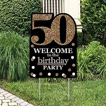 Amazon Com Adult 50th Birthday Gold Yard Sign