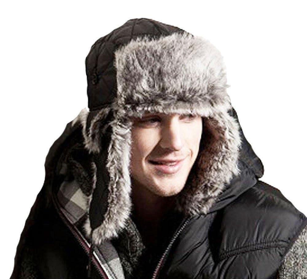 Mens Womens Unisex RUTGER Fur Trimmed Trapper Thermal Winter Hat LRG 58cm GREY MHAT-RUTGER-trapper-LRG-58cm-GREY