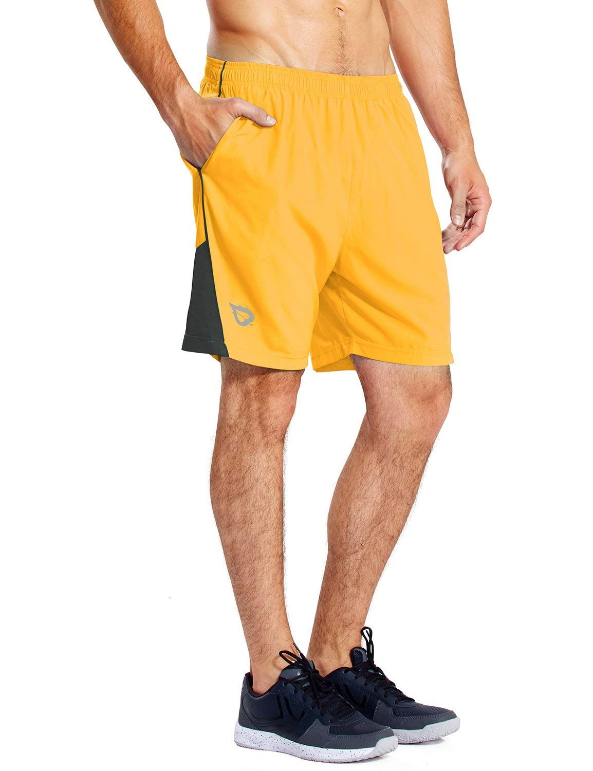 BALEAF Men's 7 Inches Athletic Running Shorts Quick Dry Mesh Liner Zip Pocket Yellow Size XXL by BALEAF