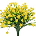 E Hand Artificial Flowers Fake Cemetery Yellow Daffodils Outdoor Greenery Shrubs Plants Plastic Bushes Window Box Uv Resistant 4 Branches Fence Indoor Outside Hanging Planter Wedding Cemetery Decor