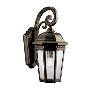 Kichler Lighting 9033RZ Courtyard 1 Light Incandescent Outdoor Wall Mount  Lantern, Rubbed Bronze With