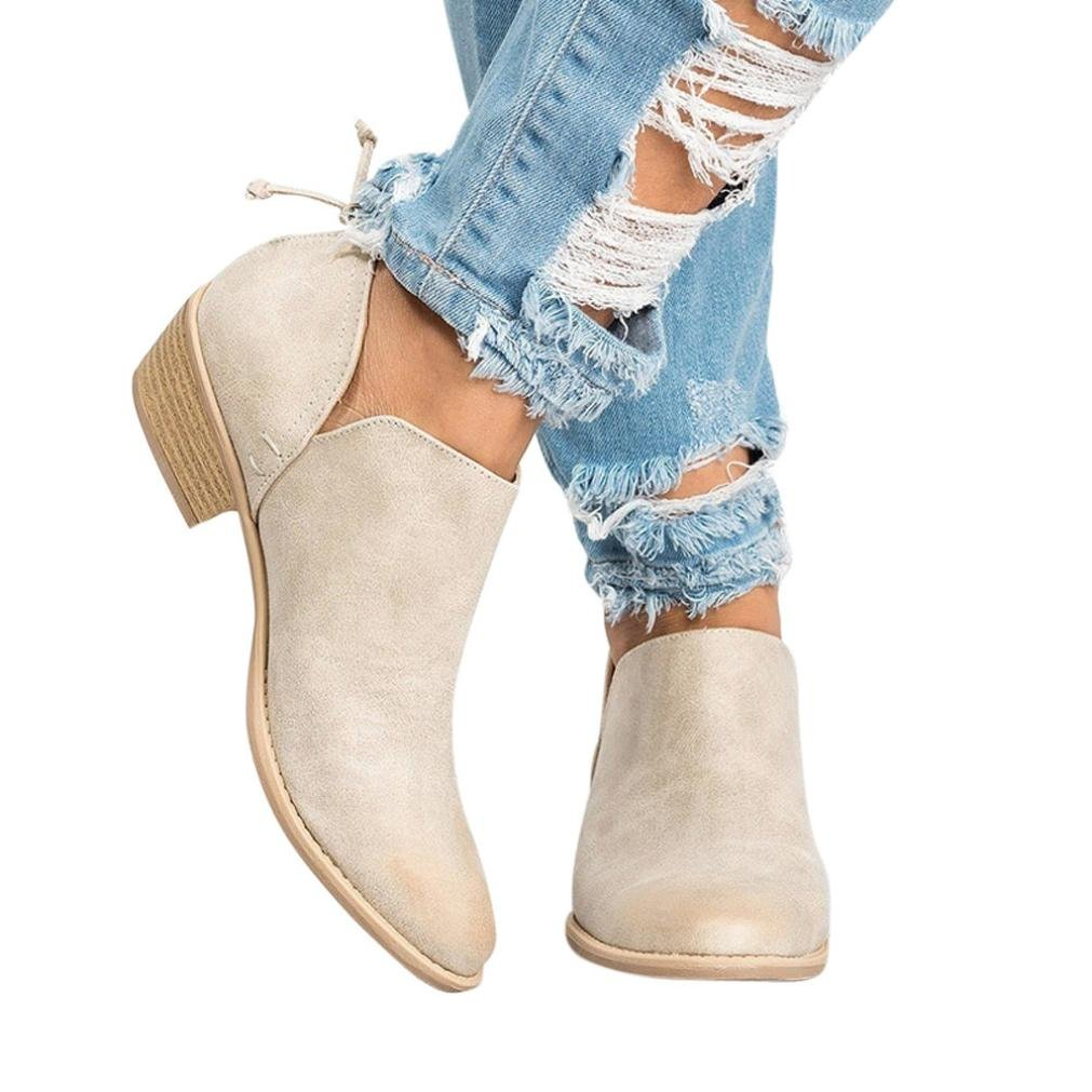 Hot!Todaies Women Autumn Shoes Fashion Ankle Solid Leather Martin Shoes Ladies Short Boots (US:8.5, Beige)