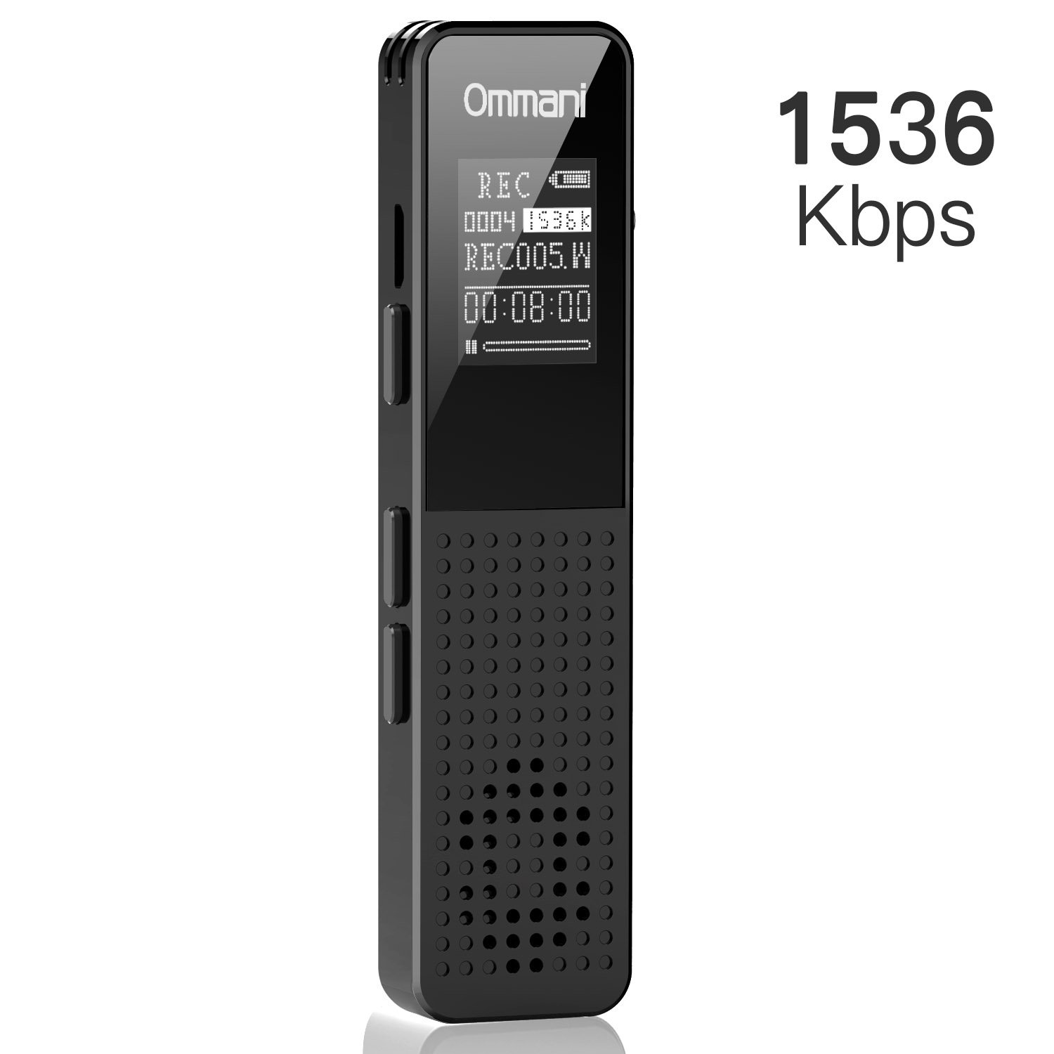 Voice Recorder, Ommani 8GB 1536Kbps Digital Audio Sound Recorder Dual Microphone Dynamic Noise Reduction USB Rechargeable Voice Activated Recorder MP3 Player OLED Screen Lecture Class Meeting