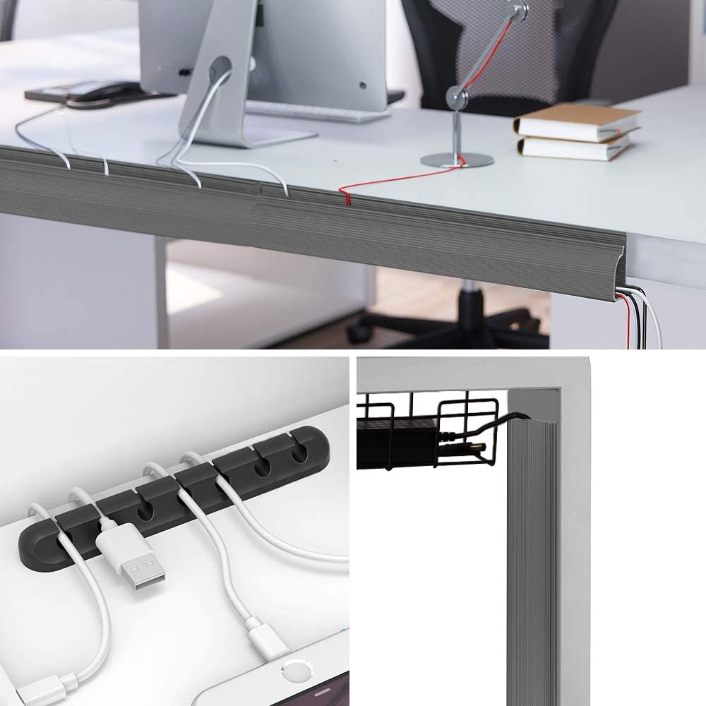 blanco corrector para escritorios 6 paquetes de cable pista de rodadura bandeja de gesti/ón de cables debajo del escritorio con cinta adhesiva 96 total oficinas y cocinas cubierta de cable