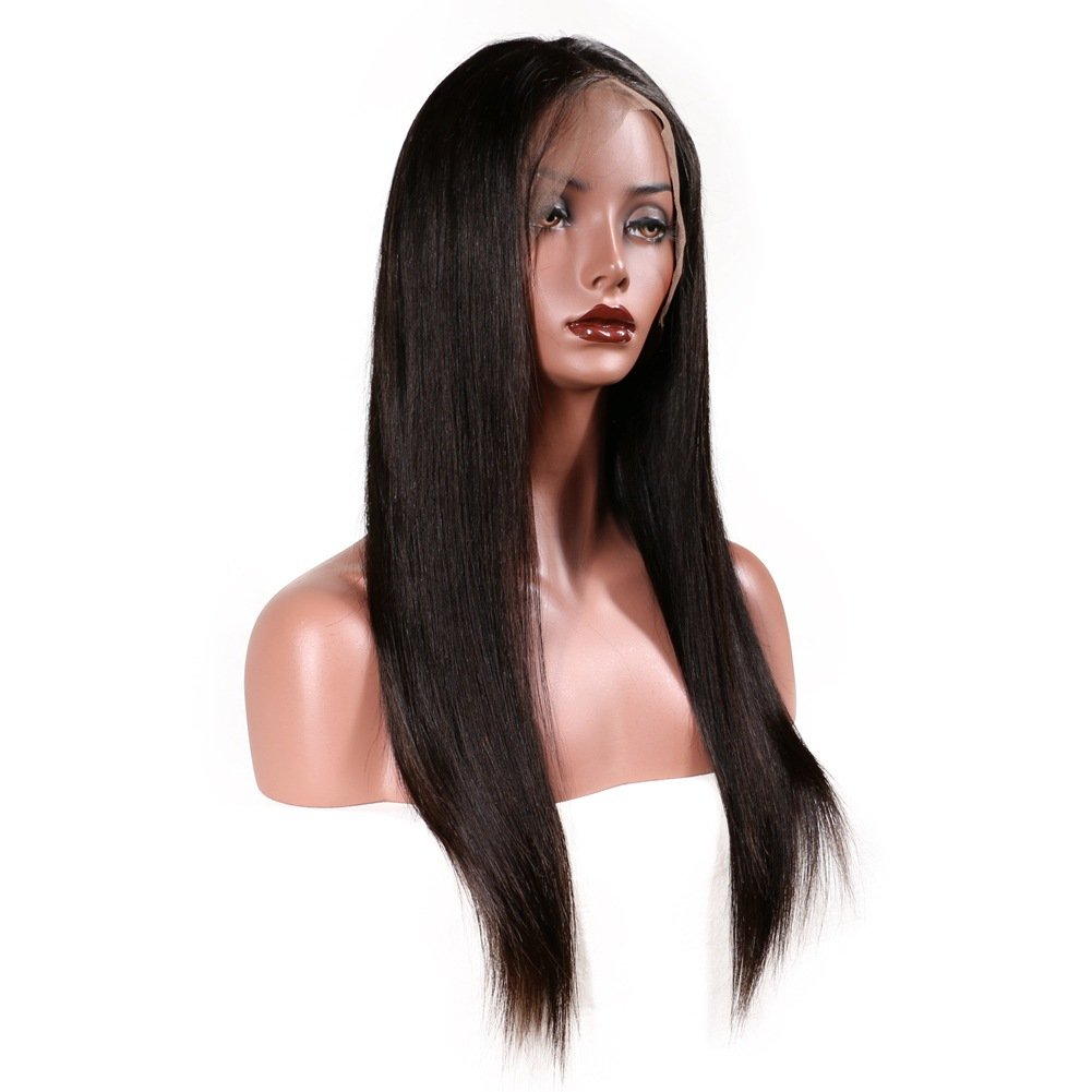 KeLang Brazilian Virgin Human Hair Lace Front Wigs for Black Women Long Straight Pre Plucked Glueless Human Hair Wigs With Baby Hair And Bleached knots 130% Density Natural Black color (Lace Front 16) by KeLang (Image #7)