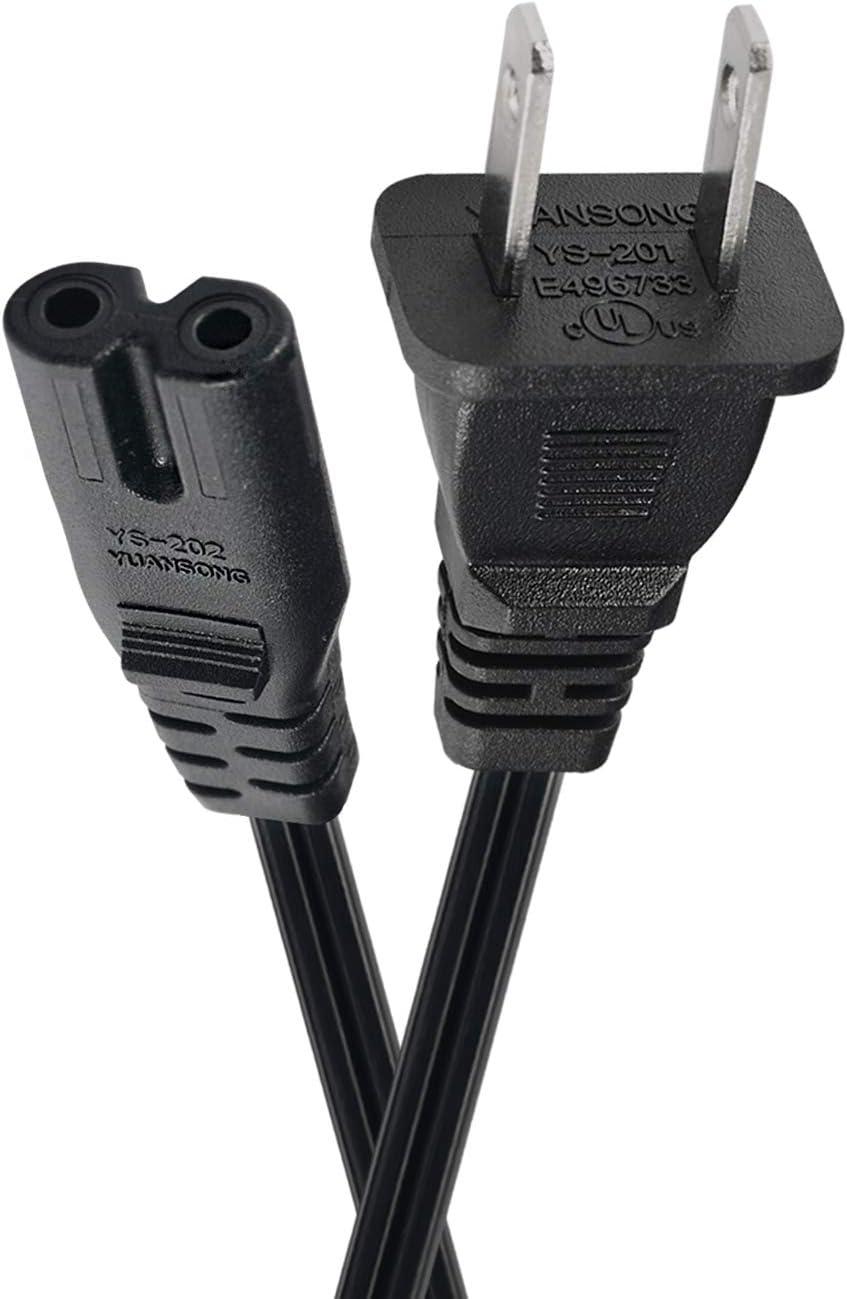 TV Power Cord 6 Ft Cable Compatible with Samsung LG TCL UL Listed 2 Prong AC Wall Plug 2-Slot LED LCD Insignia Sharp Toshiba Hisense Electronics UN65KS8000FXZA UN40J5200AFXZA 43UH6100 Black
