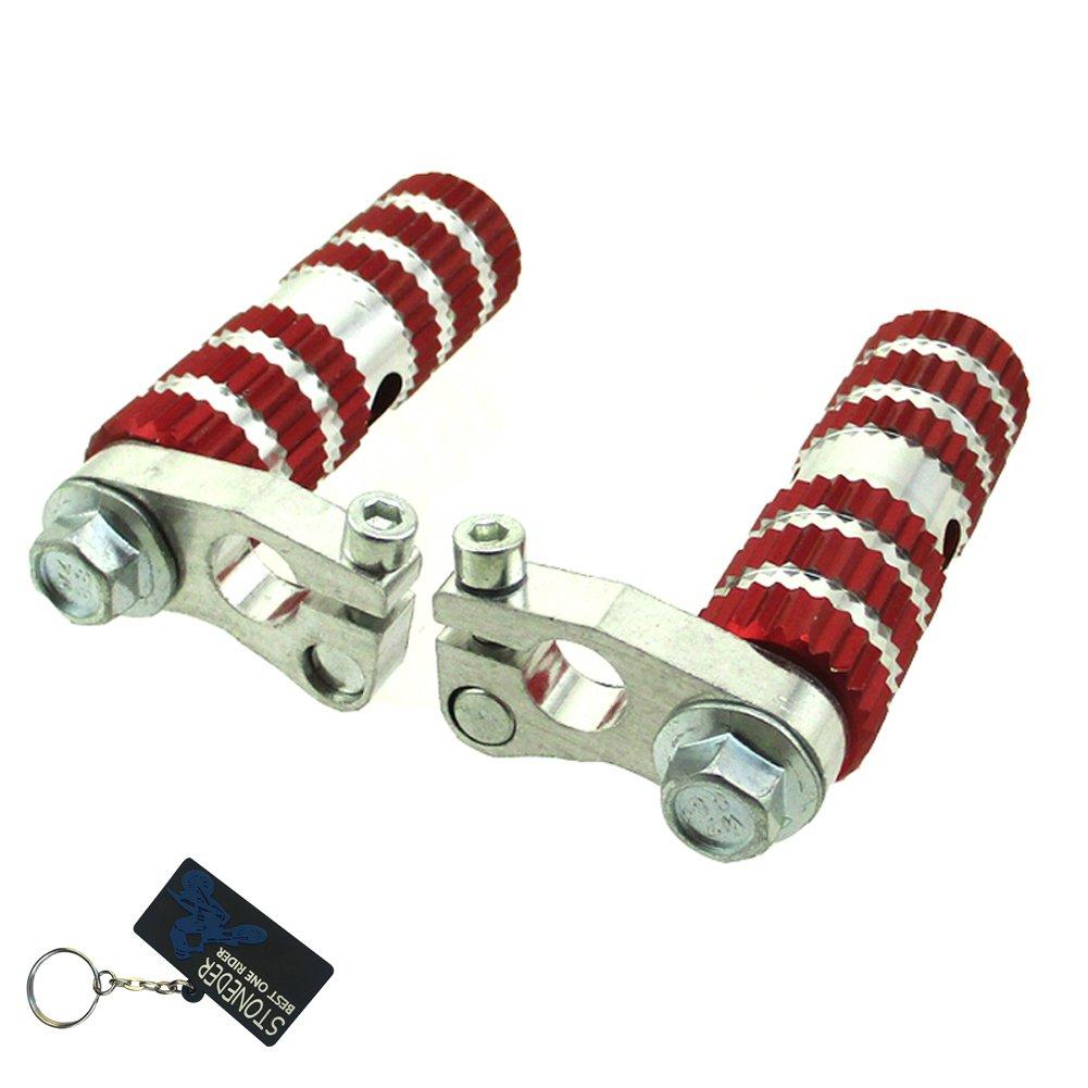 Stoneder - Pedales de aluminio para reposapié s de carreras, color rojo, para Mini Pocket Bike de dos tiempos de 47 cc y 49 cc, MTA1, MTA2