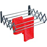 SYNERGY - Stainless Steel Foldable Wall Mounted Cloth Dryer/Clothes Drying Stand with Lifetime Warranty (7 Rods)