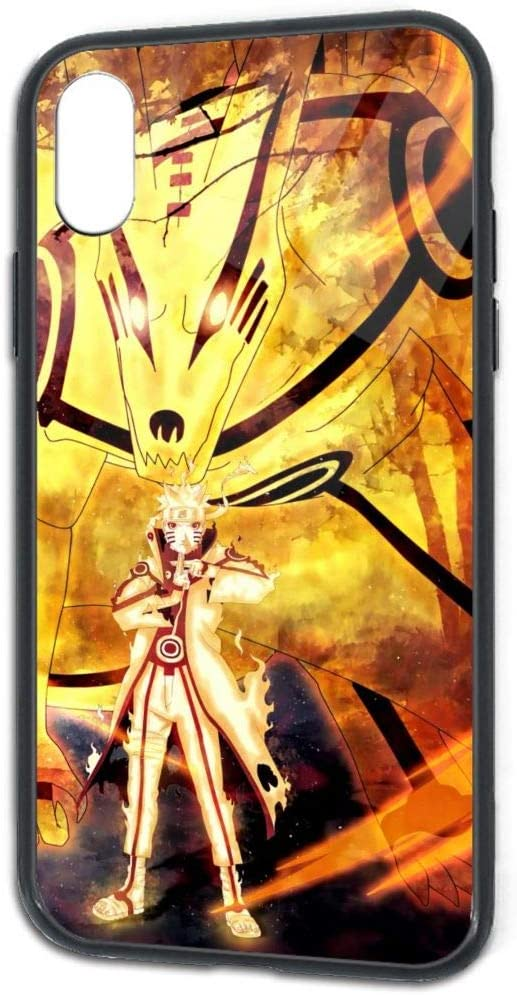 Amazon Com Compatible With Iphone X Iphone Xs 5 8 Inch Anime Naruto Nine Tails Chakra Mode With Kurama Pretty Soft Tpu Tempered Glass Back Cover Bumper Anti Scratch Full Protective Case