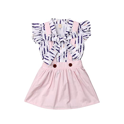 93fed154e45 Cute Baby Girls Feather Ruffled Bowknot Blouse Shirt Top + Suspender Skirts  Clothes Sets (3