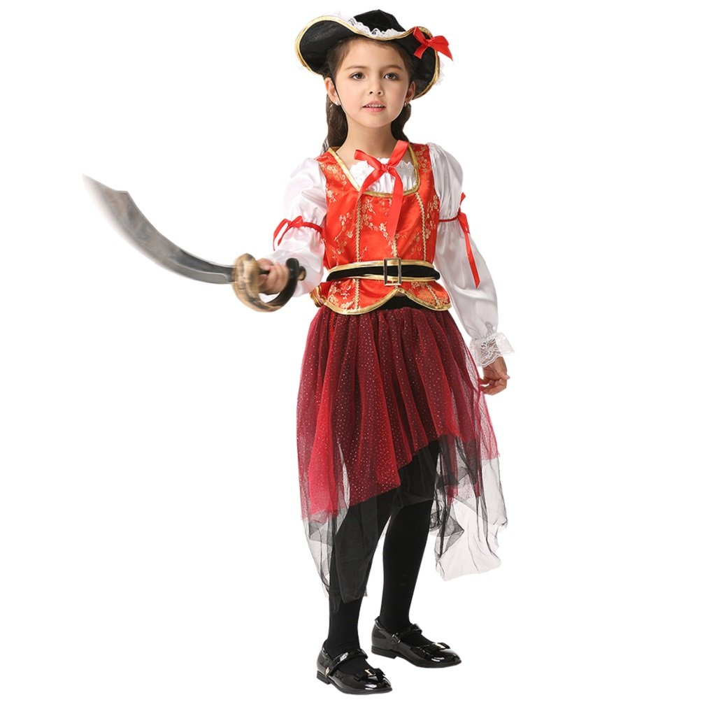 Girl's Halloween Pirate Cosplay Costume Suit Children's Wear Dancing Dress (Small)