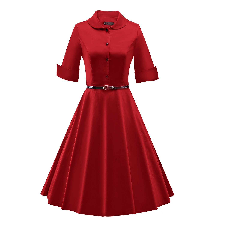 iLover Women 3/4 Sleeve 1950s Vintage Rockabilly Dress Swing Dress