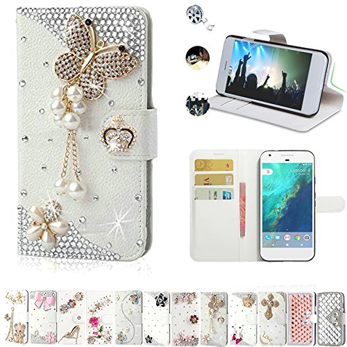 (Google Pixel XL Wallet Cases, AMASELL Glitter Bling Diamonds [Stand View] PU Leather Flip & Card Slots Holder Folio Wallet Cases for Google Pixel XL 5.5 Inches 2016 Cover, Pearl Jewelry Butterfly)