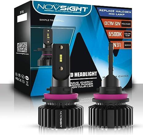 NOVSIGHT H7 Lampadine Faro 10000LM 50W Kit di Luce LED Super Luminosa Hi//Lo Beam 6000K Bianco Freddo DOT Approvato Lampadine Auto Alogeno Sostituibile 2 Pezzi