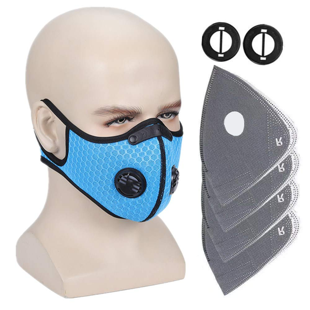 Ligart Upgraded Sport Masks, Dust Mask with Extra 4Pieces N99 Activated Carbon Filter and Valves for Exhaust Gas, Pollen Allergy, PM2.5, Half Face Masks for Cycling,Running,Hiking, Skiing,Woodworking