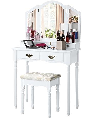 LANGRIA Tocador Mesa Maquillaje con Espejo Plegable