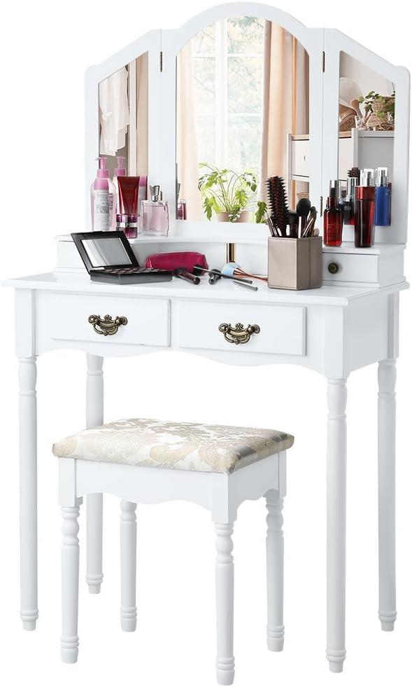 RYSB Table De Maquillage avec Miroir,C/œur-Miroir en Forme Grands Tiroirs Ensemble De Coiffeuse,Tabouret Rembourr/é Maquillage Vanity Table,Chambre Meubles,Femme-A Miroir De Coeur