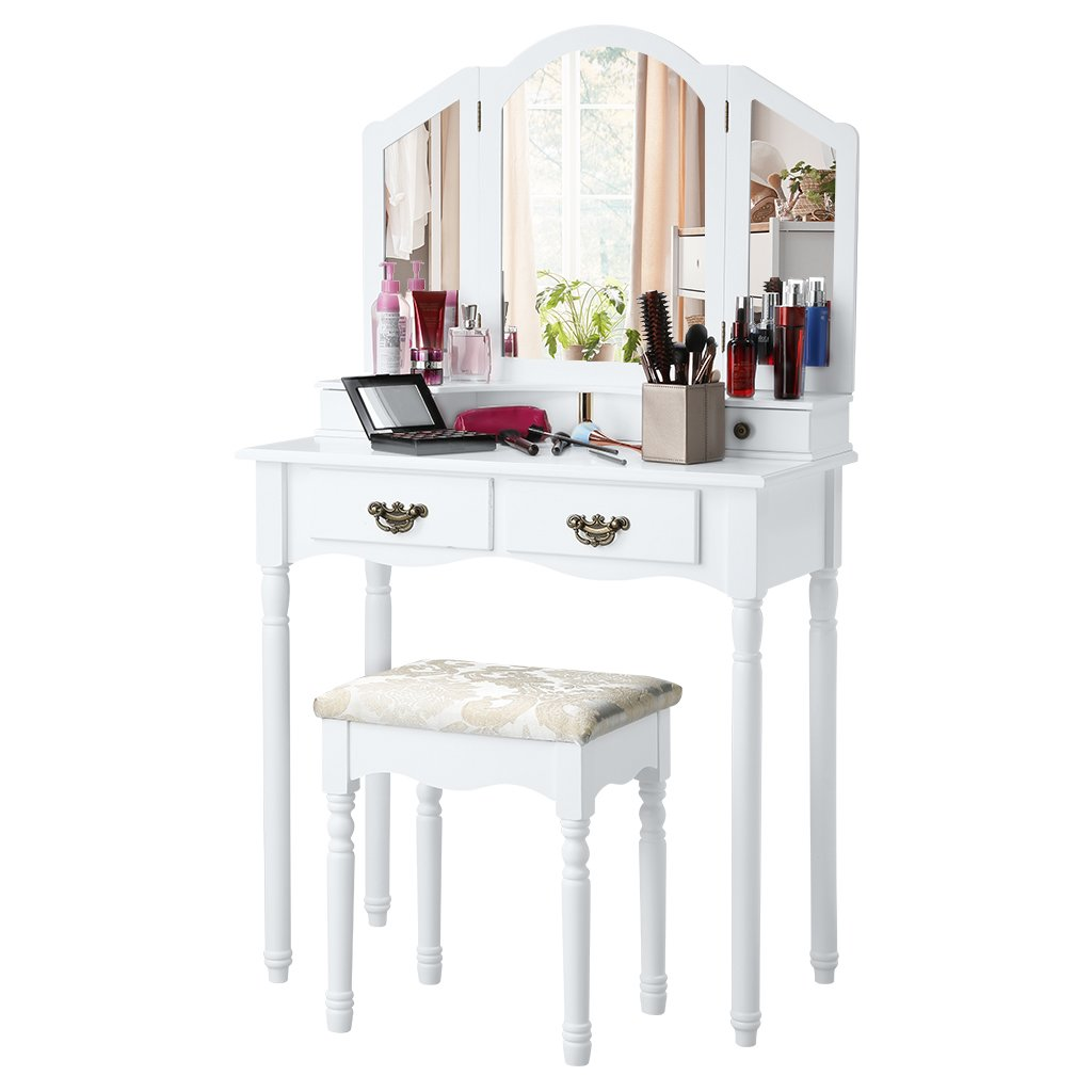 LANGRIA Vanity Makeup and Dressing Table with Tri-Fold Mirror 4 ...