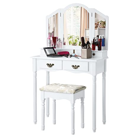 lowest price 2cf26 a1d3d LANGRIA Vanity Makeup and Dressing Table with Tri-Fold Mirror 4 Drawers and  Jacquard Floral Stool Set (White)