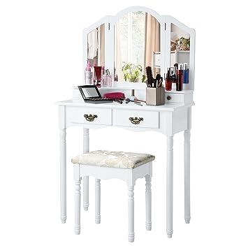 langria coiffeuse meuble maquillage avec 3 miroirs 4 tiroirs pieds rsistantes style victorien
