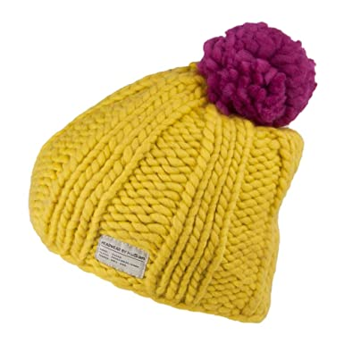 b94dd8f9ba9588 Kusan Hats Multi Pom Bobble Hat - Yellow 1-Size: Amazon.co.uk: Clothing